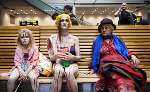 Zombie walk: Stockholm's central station waiting area