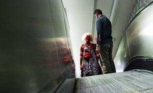 Zombie walk: Zombies take the escalator