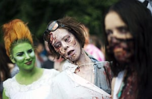Zombie walk: All sorts of zombies participate in the walk
