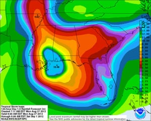 Tropical storm Isaac rainfall