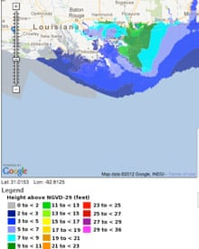 Tropical storm Isaac storm surge projection