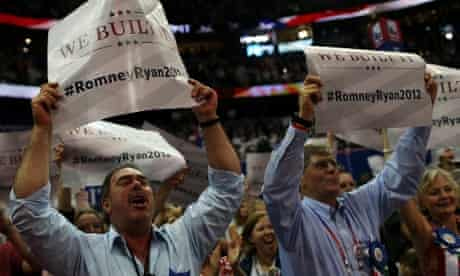 """""""We Built It"""" signs at the RNC in Tampa"""