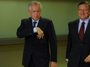 Italian Prime minister Mario Monti and European Commission President Jose Manuel Barroso