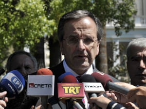 Greek prime minister Antonis Samaras speaking yesterday, following his meeting with Greek president Carolos Papoulias at the Presidental Palace in Athens.