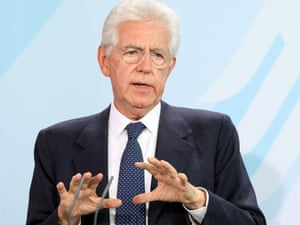 Italian Prime Minister Mario Monti speaks during a news conference with German Chancellor Angela Merkel at the German federal Chancellory on August 29, 2012 in Berlin, Germany.
