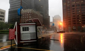 Isaac update: A parking attendant booth is overturned on Poydras St. downtown New Orleans