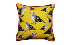 Homes: London Design: Yellow cushion with bird pattern