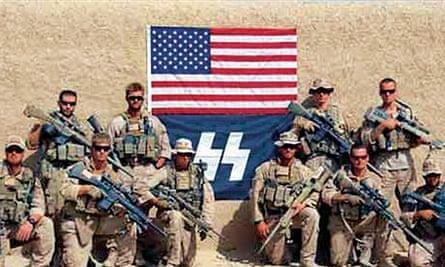 US marines pose with neo-Nazi flag