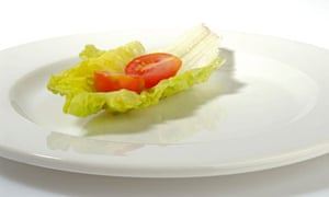 Lettuce leaf and tomato on a plate