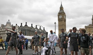 The Paralympic torch passes the Houses of Parliament on 29 August 2012.
