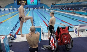 British swimmers warm up in the Aquatic Center ahead of the 2012 Paralympics