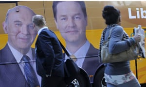 Vince Cable and Nick Clegg campaign bus pictures