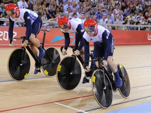 Philip Hindes (right) starts to wobble and then crashes in the men's team sprint on 3 August 2012. Photograph: Tom Jenkins/NOPP