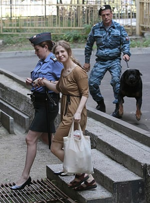 Pussy Riots: Maria Aliokhina is escorted to Khamovnichesky district court