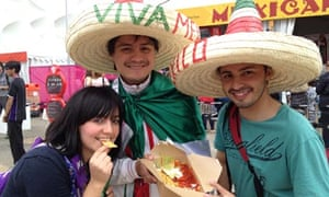 Mexicans trying food at the Olympic park