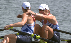 Britain's Anna Watkins and Katherine Grainger after winning the women's double sculls on 3 August 2012.