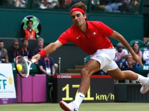 Roger Federer playing Juan Martin del Potro on 3 August 2012. Photograph: Stefan Wermuth/Reuters