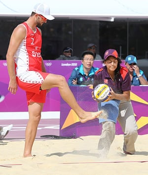 Graeme Volleyball: An Olympic volunteer gets sand kicked in her face