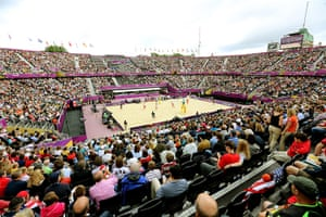 Graeme Volleyball: A general view of the Beach Volleyball venue at Horse Guards Parade