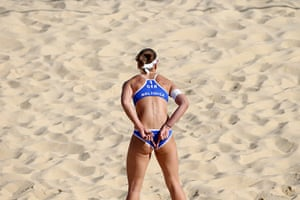 Graeme Volleyball: Katrin Holtwick signals to her team-mate