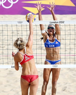 volleyball essay: Ilka Semmler of Germany attempts a spike