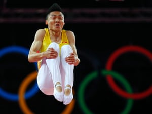 Dong Dong pulls a funny face while doing his trampolining.