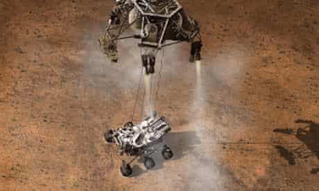 Artist's impression of Mars Curiosity rover touching down
