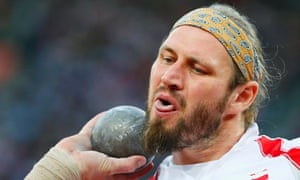 Poland's Tomasz Majewski competes in the men's shot put final at the London 2012 Olympic Games at the Olympic Stadium