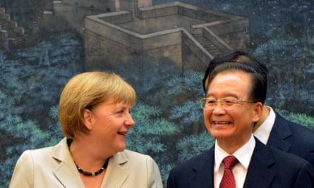 German Chancellor Angela Merkel and Chinese Premier Wen Jiaba