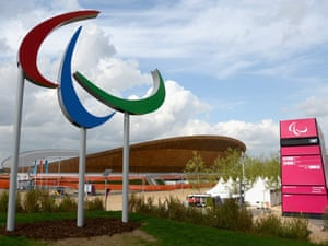 The Paralympic symbol outside the velodrome on 28 August 2012. Photograph: Gareth Copley/Getty Images