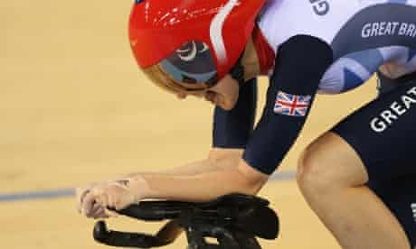Crystal Lane of Great Britain competes in Women's Individual C5 Pursuit Cycling qualifying at Velodrome.