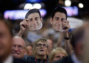 Republican convention: A delegate holds up a mask of Paul Ryan
