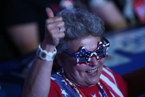 Republican convention: A woman in patriotic sunglasses gives the thumbs-up