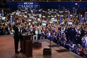 Republican convention: Paul Ryan waves as he takes the stage
