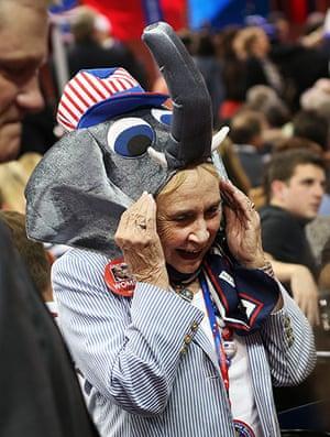 Republican convention: A woman wears a GOP elephant hat