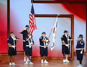 Republican convention: The US flag is presented by the Amputee Veterans of America Support Team