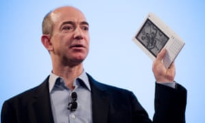 Jeff Bezos of Amazon with a Kindle e-reader