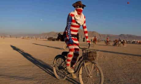 Burning man cyclist patriot