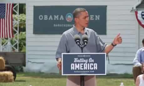 Barack Obama stumping in Ohio, 2012