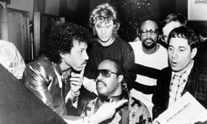 Recording We Are The World with Lionel Richie, Daryl Hall, Quincy Jones and Paul Simon, 1985.