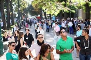 Venice biennale: Visitors walk through the Giardini