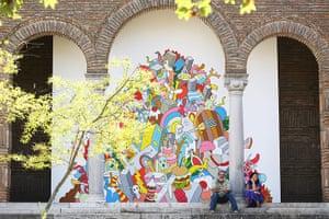 Venice biennale: Relaxing outside the Greek pavilion