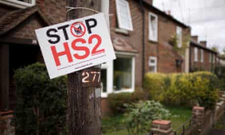 'Stop HS2' sign on a telegraph pole