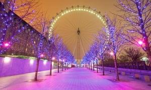 London Eye and Christmas lights on the South Bank