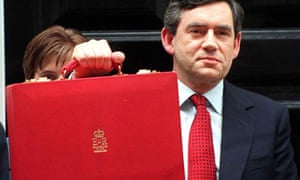Gordon Brown holding aloft the budget box in 1997