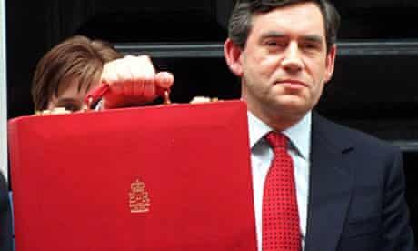 Gordon Brown holding aloft the budget box in 1997