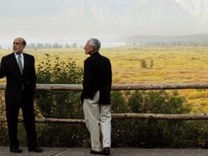 Ben Bernanke and Stanley Fischer, governor of the Bank of Israel, outside the Jackson Hole Economic Symposium, earlier today.
