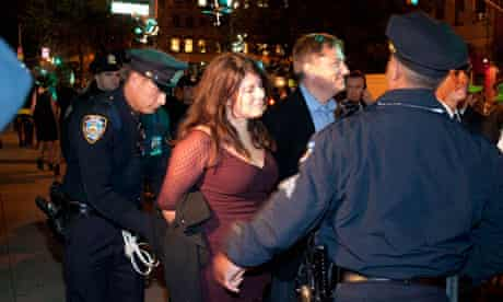Wolf is arrested in New York during an Occupy Wall Street protest, October 2011.