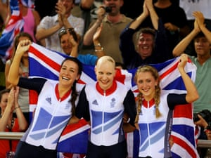 Dani King, Joanna Rowsell, and Laura Trott of Great Britain