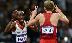 Britain's Mohammed Farah (L) celebrates with second-placed Galen Rupp